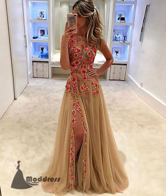Applique Long Prom Dress Scoop Tulle A-Line Evening Dresses with High Slit,HS435