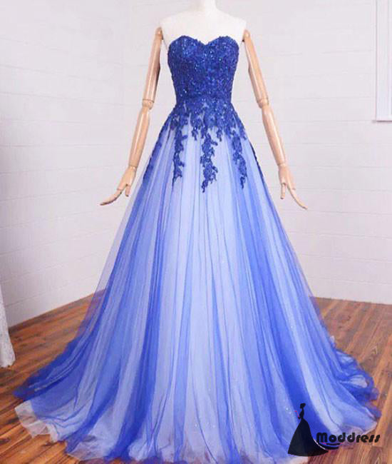 Applique Long Prom Dress Sequins Sweetheart A-Line Evening Dress Formal Dress,HS469