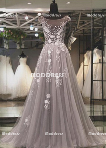 Applique Long Prom Dresses Cap Sleeve Evening Dresses Backless A-Line Tulle Formal Dresses