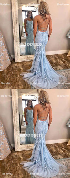 Applique Long Prom Dresses Cross Back Evening Dresses Backless Mermaid Formal Dresses