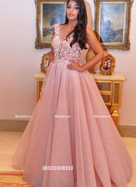 Applique Long Prom Dresses Elegant Ball Gowns