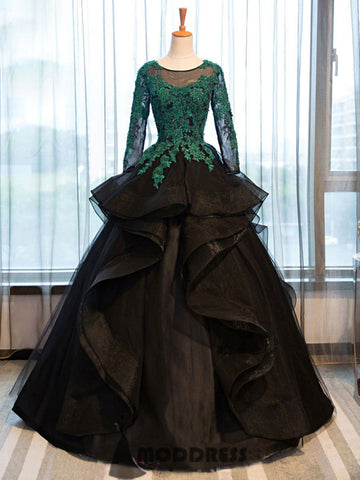 Applique Long Prom Dresses Green Black Long Sleeve Ball Gowns Beading Formal Dresses,HS638