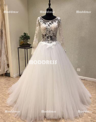 Applique Long Prom Dresses Long Sleeve Evening Dresses Tulle A-Line Formal Dresses
