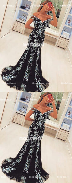Applique Long Prom Dresses Mermaid Evening Dresses Off the Shoulder Formal Dresses