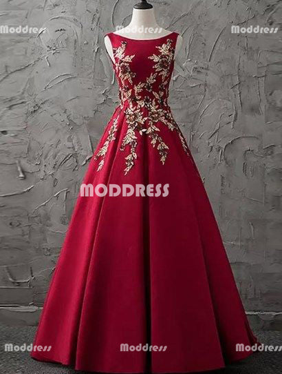 Applique Long Prom Dresses Red Satin Evening Dresses A-Line Formal Dresses