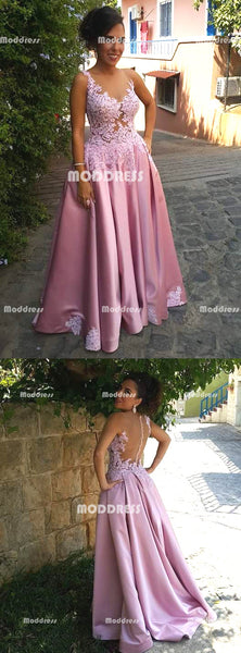 Applique Long Prom Dresses Satin Evening Dresses A-Line Formal Dresses