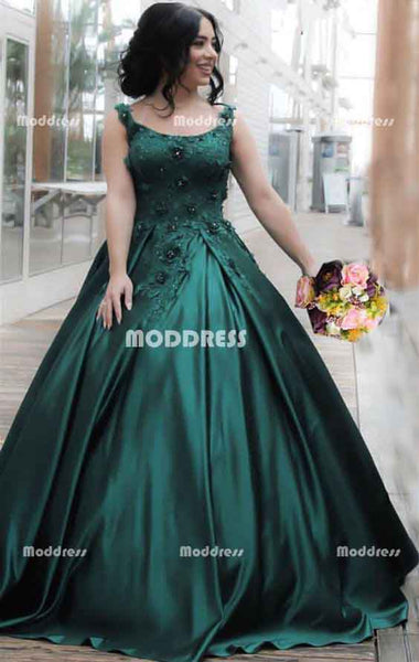 Applique Long Prom Dresses Sleeveless Ball Gowns Satin Evening Formal Dresses