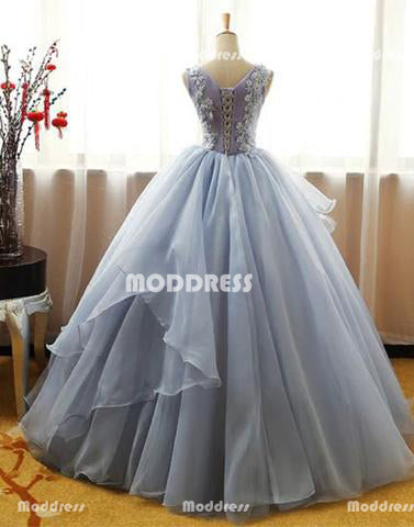 Applique Long Prom Dresses Sleeveless Evening Dresses Scoop Ball Gowns