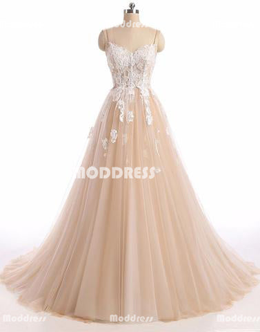 Applique Long Prom Dresses Spaghetti Straps Evening Dresses Sweetheart A-Line Formal Dresses