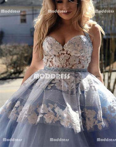 Applique Long Prom Dresses Tulle Evening Dresses Ball Gowns