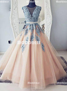 Applique Long Prom Dresses Tulle Evening Formal Dresses Ball Gowns