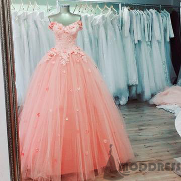 Applique Long Prom Dresses Tulle Evening Formal Dresses Ball Gowns,HS723