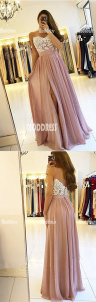 Applique Long prom Dresses Spaghetti Straps Evening Formal Dresses with High Slit