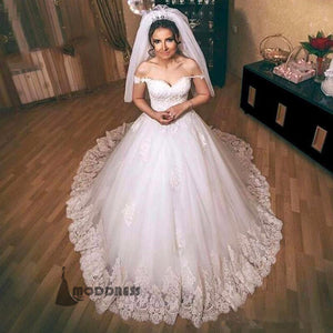 Applique Puffy Wedding Dresses Cape Sleeves Bridal Ball Gowns,HS666