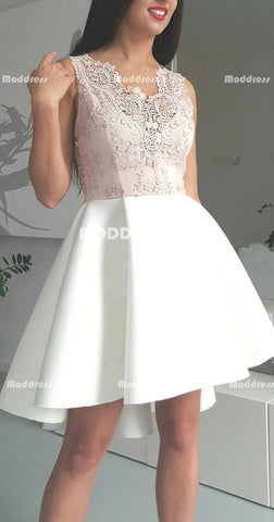 Applique Short Homecoming Dresses Satin A-Line Short Homecoming Dresses