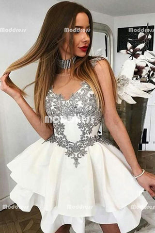 Applique Short Homecoming Dresses Sleeveless Prom Dresses,HS880