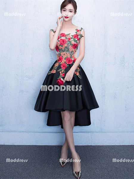 Applique Short Prom Dresses Satin A Line Evening Formal Dresses