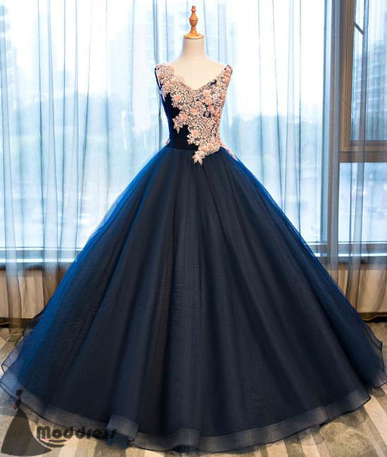 Applique V-Neck Long Prom Dress Tulle Ball Gowns Evening Dress,HS370