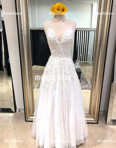 Applique V-Neck Long prom Dresses A-Line Evening Dresses Tulle Spaghetti Straps Formal Dresses