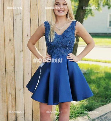 Applique V-Neck Short Homecoming Dresses Satin A-Line Short Homecoming Dresses Backless Short Homecoming Dresses