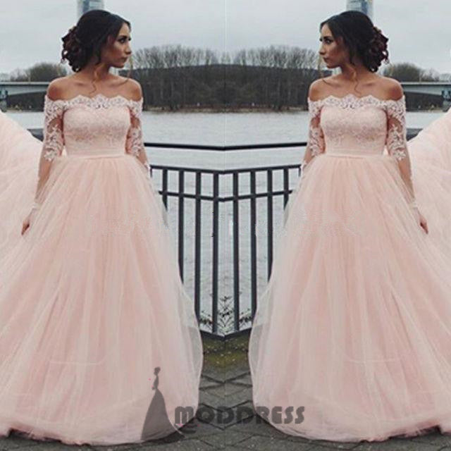 8a8eb2544d Applique Wedding Dresses Off the Shoulder Long Prom Dresses Long Sleeve Evening  Formal Dresses