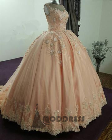 Applique Wedding Dresses satin tulle Princess Dresses Sleeveless Ball Gowns,HS649