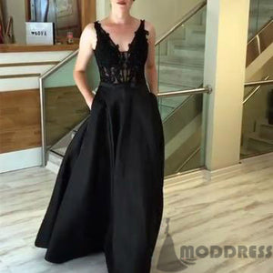 Appliques V Neck Long Prom Dresses Black Satin Evening Gowns With Pockets,HS728
