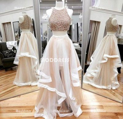 Asymmetric 2 Pieces Long Prom Dresses Beaded Evening Dresses A-Line Formal Dresses