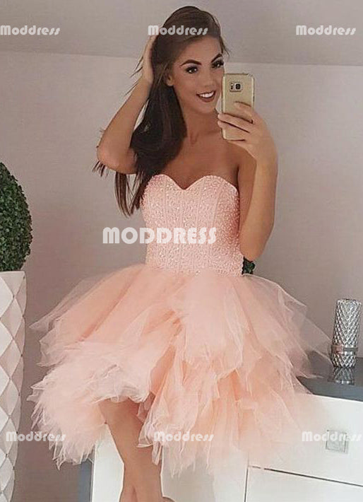 Asymmetric Short Homecoming Dresses Beaded Short Homecoming Dresses Sweetheart Short Homecoming Dresses