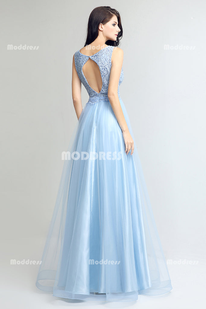 b741b155970b8 ... Baby Blue Lace Beading Long Prom Dresses Tulle Evening Dresses A-Line  Formal Dresses with ...