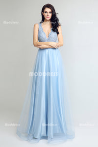 Baby Blue Lace Beading Long Prom Dresses Tulle Evening Dresses A-Line Formal Dresses with Keyhole