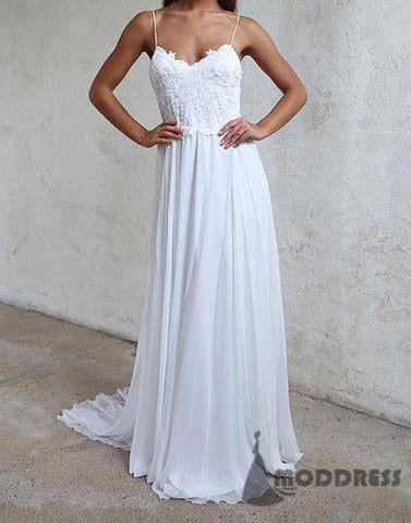 Beach Long Prom Dresses White Lace Evening Formal Dresses Cheap Bridesmaid Dresses,HS691