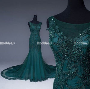 Beaded Applique Long Prom Dresses Mermaid Evening Formal Dresses,HS955