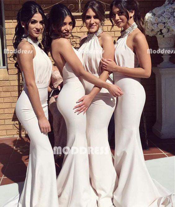 Beaded Bridesmaid Dresses Halter Mermaid Long Bridesmaid Dresses Backless Prom Dresses,HS938