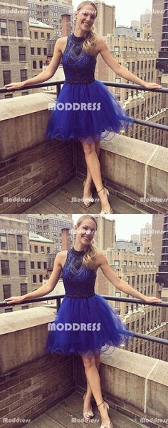 Beaded Homecoming Dresses Royal Blue Homecoming Dresses High Neck Homecoming Dresses