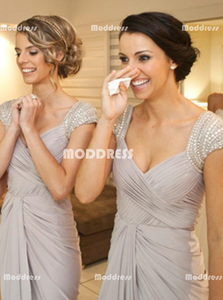 Beaded Long Bridesmaid Dresses Chiffon Evening Dresses V-Neck Formal Dresses