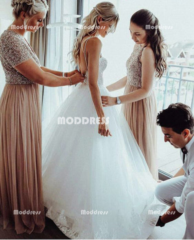 Beaded Long Bridesmaid Dresses Tulle A-Line Bridesmaid Dresses Short Sleeve Bridesmaid Dresses