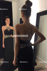 Beaded Long Prom Dresses Black Mermaid Evening Dresses Cross Back Backless Formal Dresses