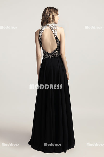Beaded Long Prom Dresses Chiffon Backless A-Line Evening Dresses High Neck Formal Dresses