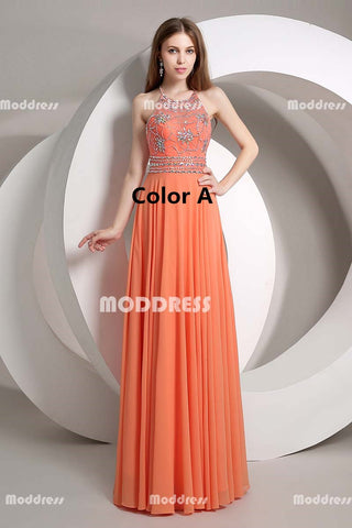Beaded Long Prom Dresses Halter Evening Dresses Chiffon A-Line Formal Dresses