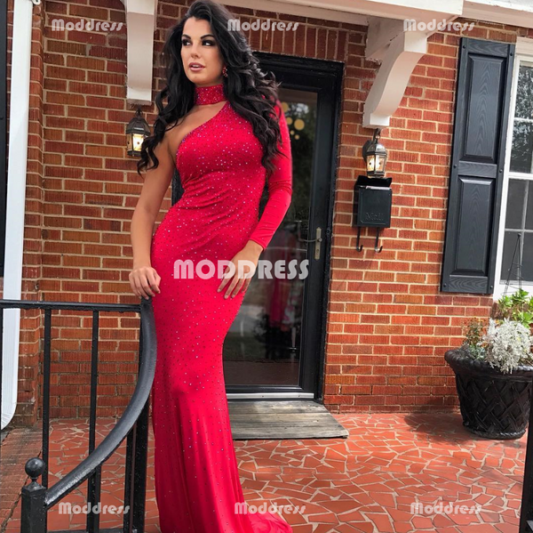 Beaded Long Prom Dresses Mermaid Evening Dresses One Shoulder Formal Dresses