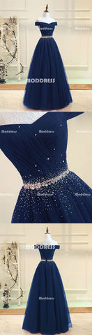 Beaded Long Prom Dresses Off the Shoulder Evening Dresses A-Line Formal Dresses