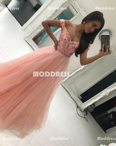 Beaded Long Prom Dresses Off the Shoulder Evening Dresses Tulle A-Line Formal Dresses