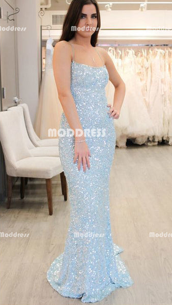 Beaded Long Prom Dresses Pale Blue Mermaid Evening Dresses Backless Formal Dresses