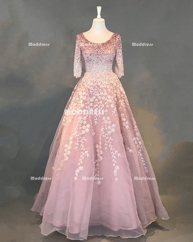 Beaded Long Prom Dresses Pink Applique Evening Dresses A-Line Half Sleeve Formal Dresses