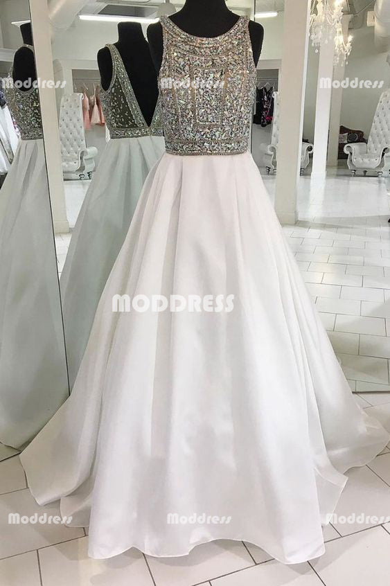 Beaded Long Prom Dresses Satin A-Line Evening Dresses Backless Formal Dresses