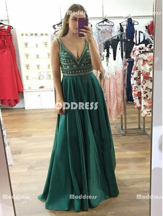 Beaded Long Prom Dresses Satin A-Line Evening Dresses V-Back Formal Dresses