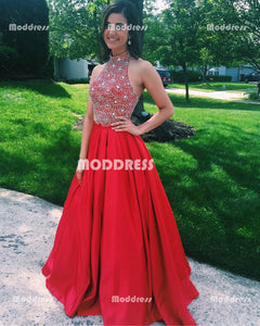 Beaded Long Prom Dresses Satin Evening Dresses A-Line Formal Dresses