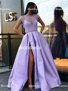 Beaded Long Prom Dresses Satin Evening Dresses Lilac Short Sleeve Formal Dresses with High Slit