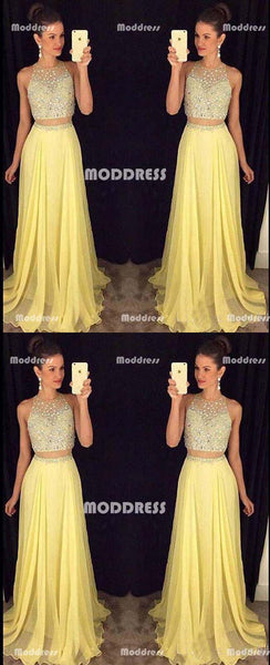 Beaded Long Prom Dresses Sleeveless Evening Dresses A-Line Formal Dresses